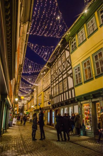Christmas lights above the Merchants bridge in Erfurt, Germany