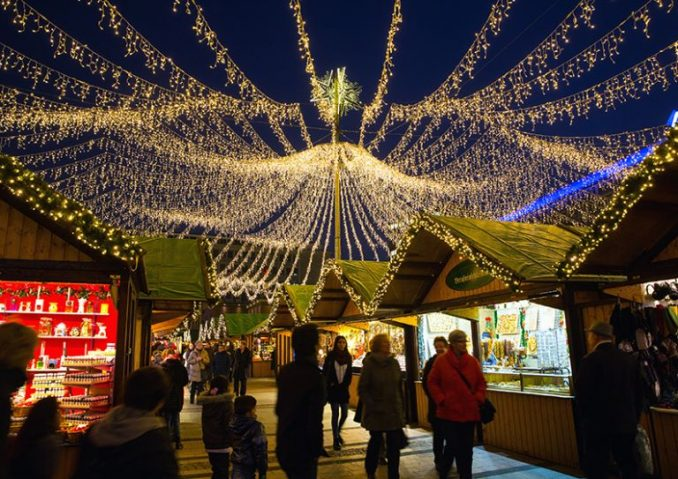 Essen Christmas market with lights above, at night