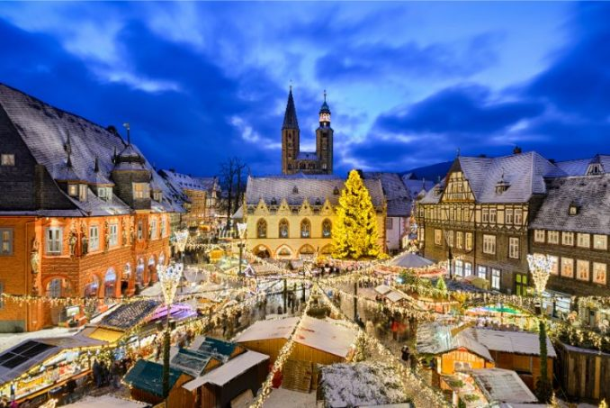 Overview of Goslar Christmas Market at night