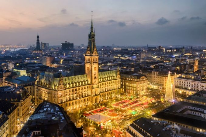 Hamburg Christmas market seen from above at sunset