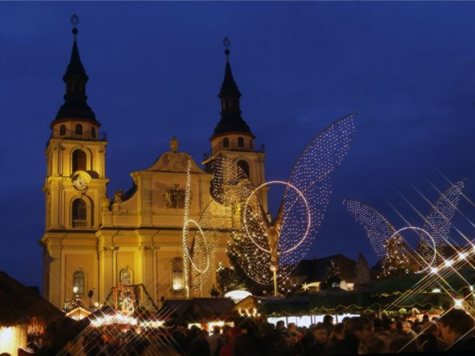 Nightly angel installation at Christmas market in Ludwigsburg, Germany