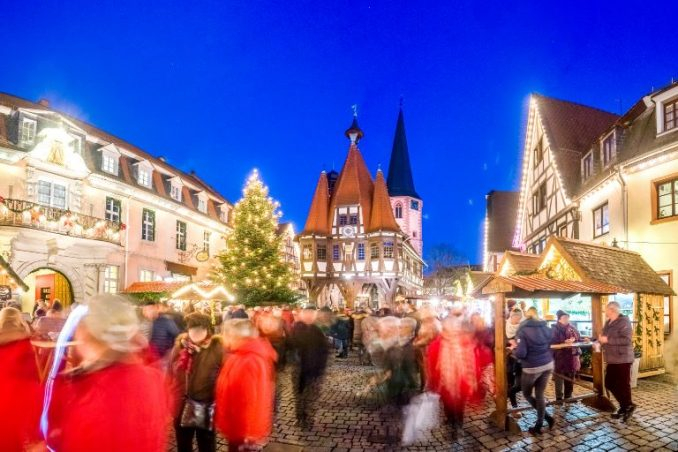 Christmas market at Michelstadt im Odenwald at night