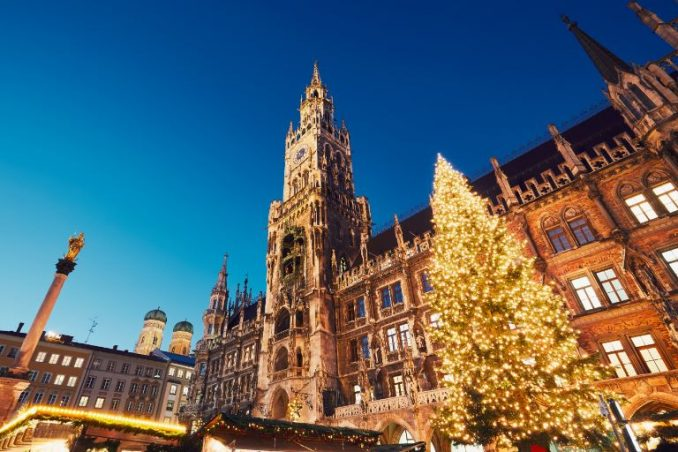 Munich town hall with Christmas tree at night