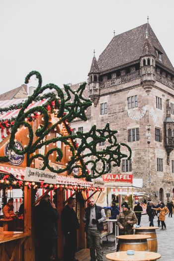 Christmas decor on huts around the Christmas Market in Nurnberg, Germany