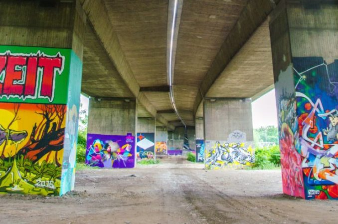 street art at bridge pillars in Essen, Germany