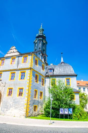 Weimar Castle underneath a blue sky