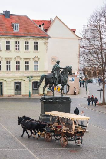 statue on square in Weimar, Germany