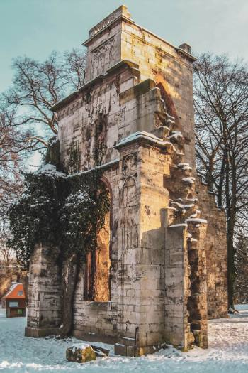 Romantic ruin in Ilm Park, Weimar, Germany
